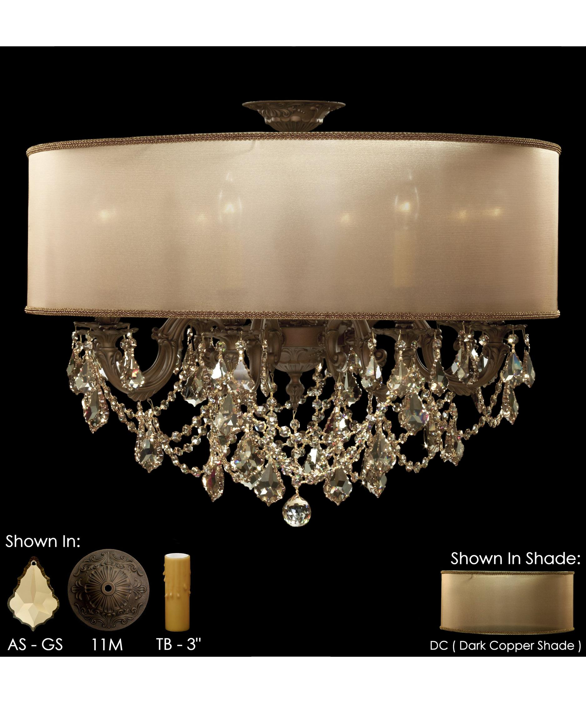 American Brass and Crystal Llydia 28 Inch Wide Semi Flush Mount – American Brass and Crystal Chandeliers