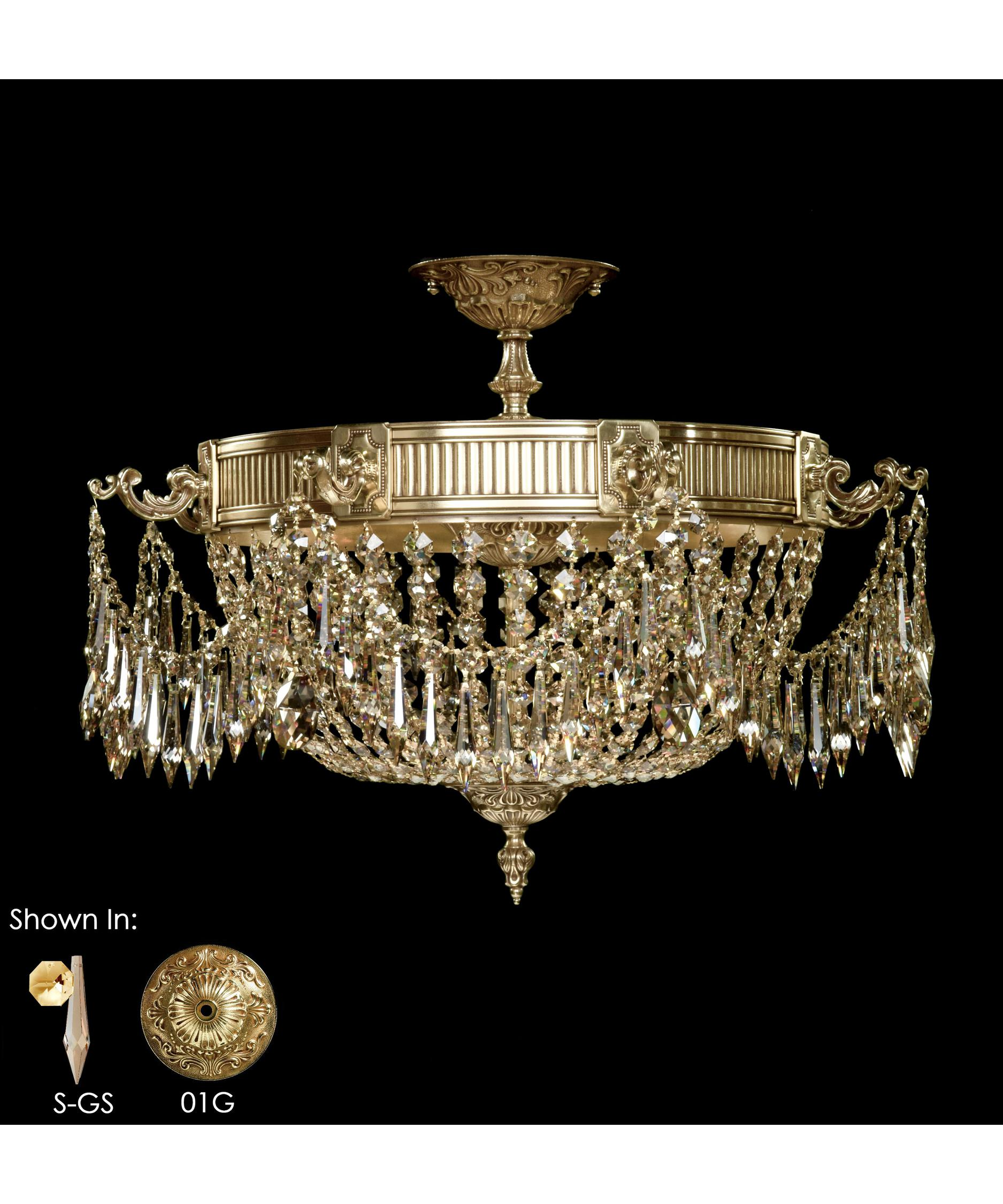 American Brass and Crystal Valencia 24 Inch Wide Flush Mount – American Brass and Crystal Chandeliers