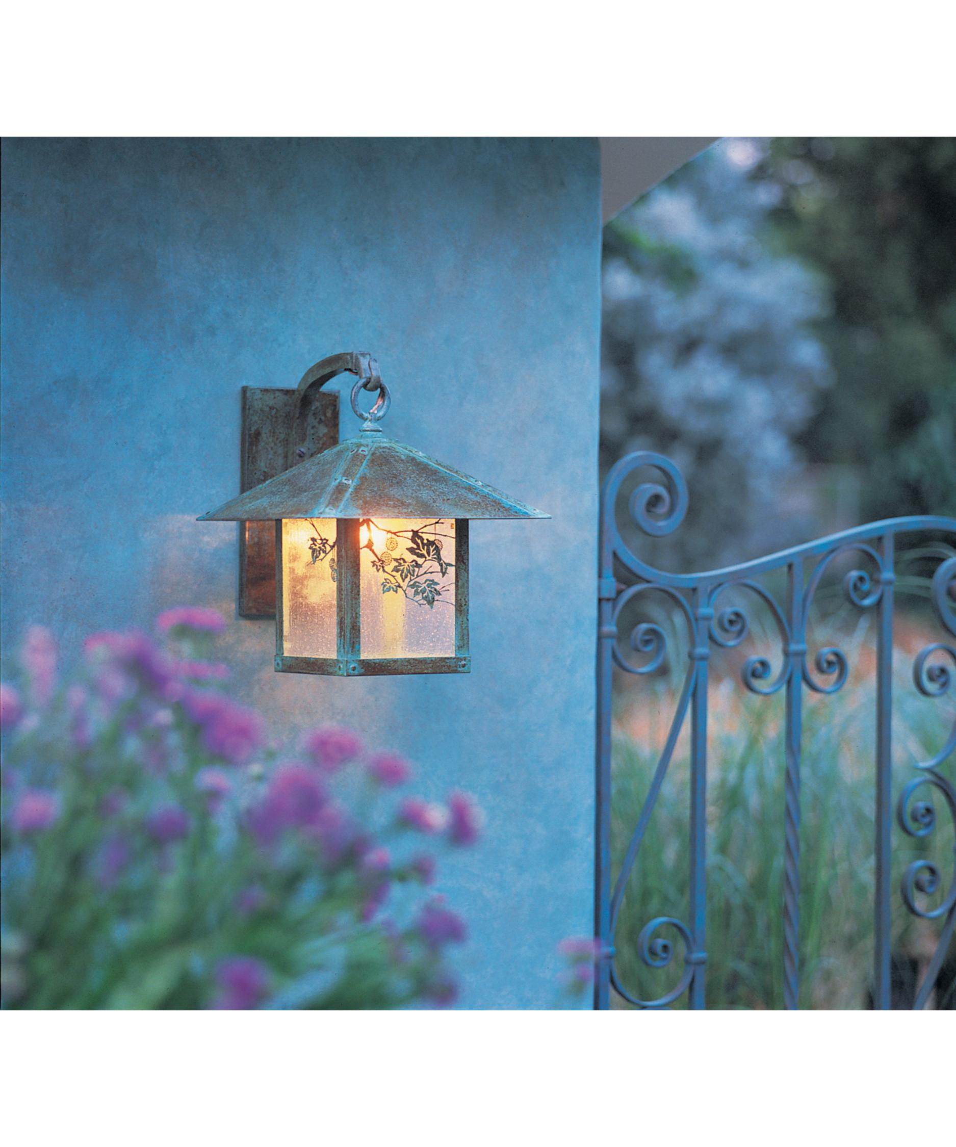shown in verdigris patina finish clear seedy glass and sycamore accent arroyo craftsman lighting