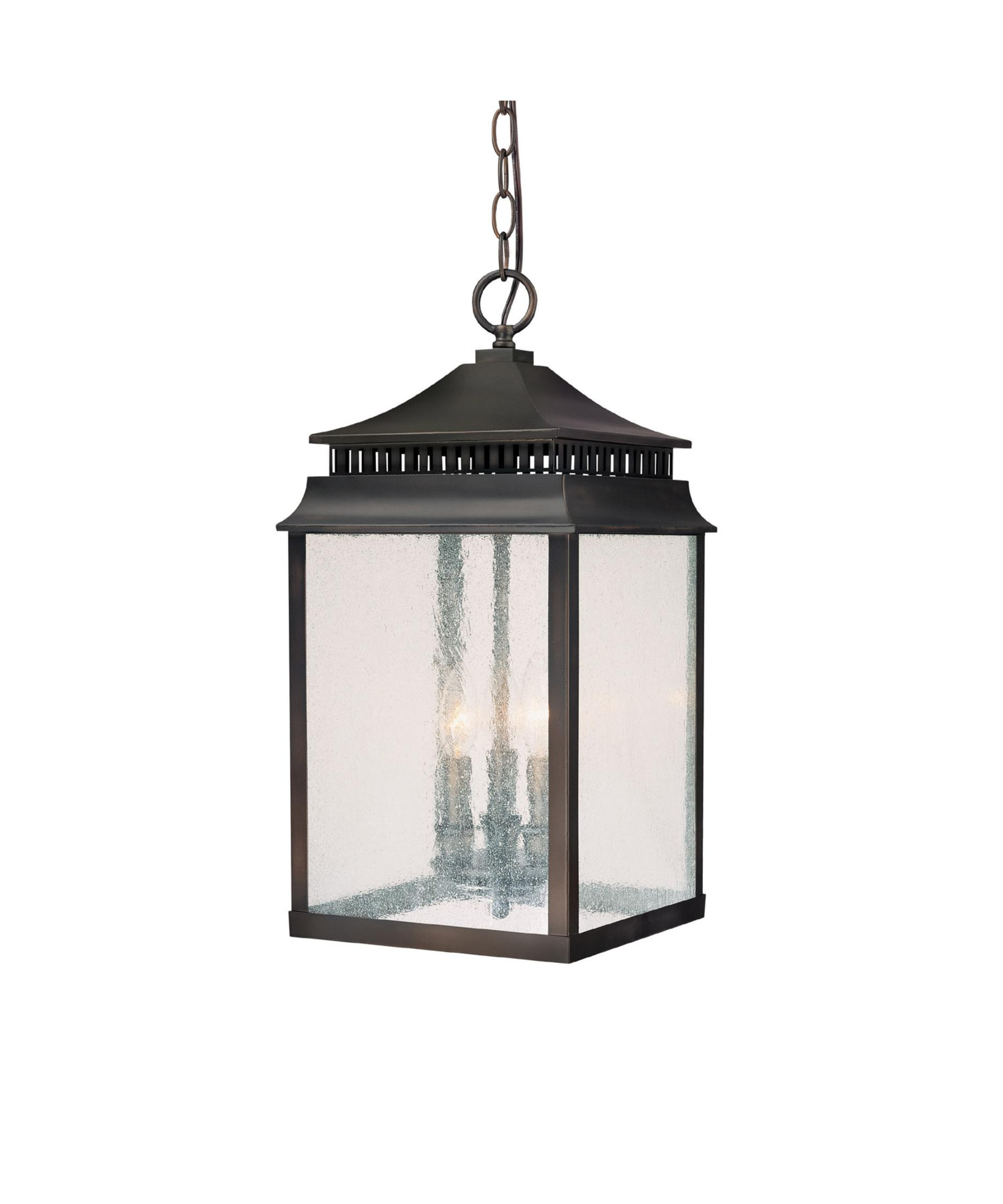 Outdoor hanging lighting - Shown In Olde Bronze Finish And Seeded Glass