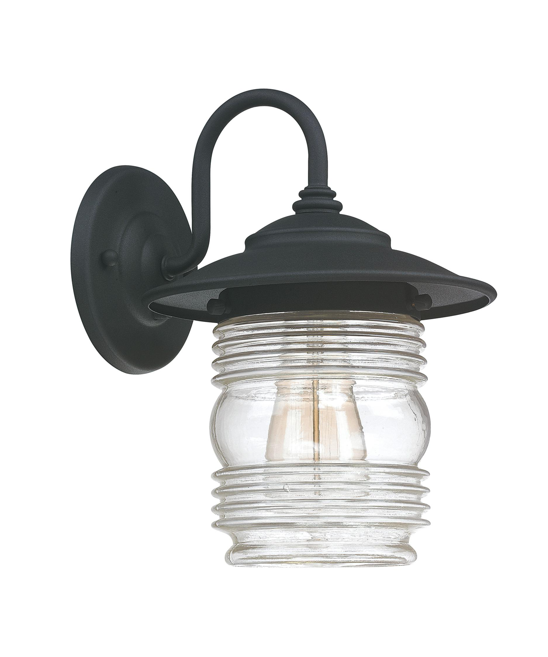White Outdoor Wall Lantern Part - 34: Shown In Black Finish And Clear Seeded Glass