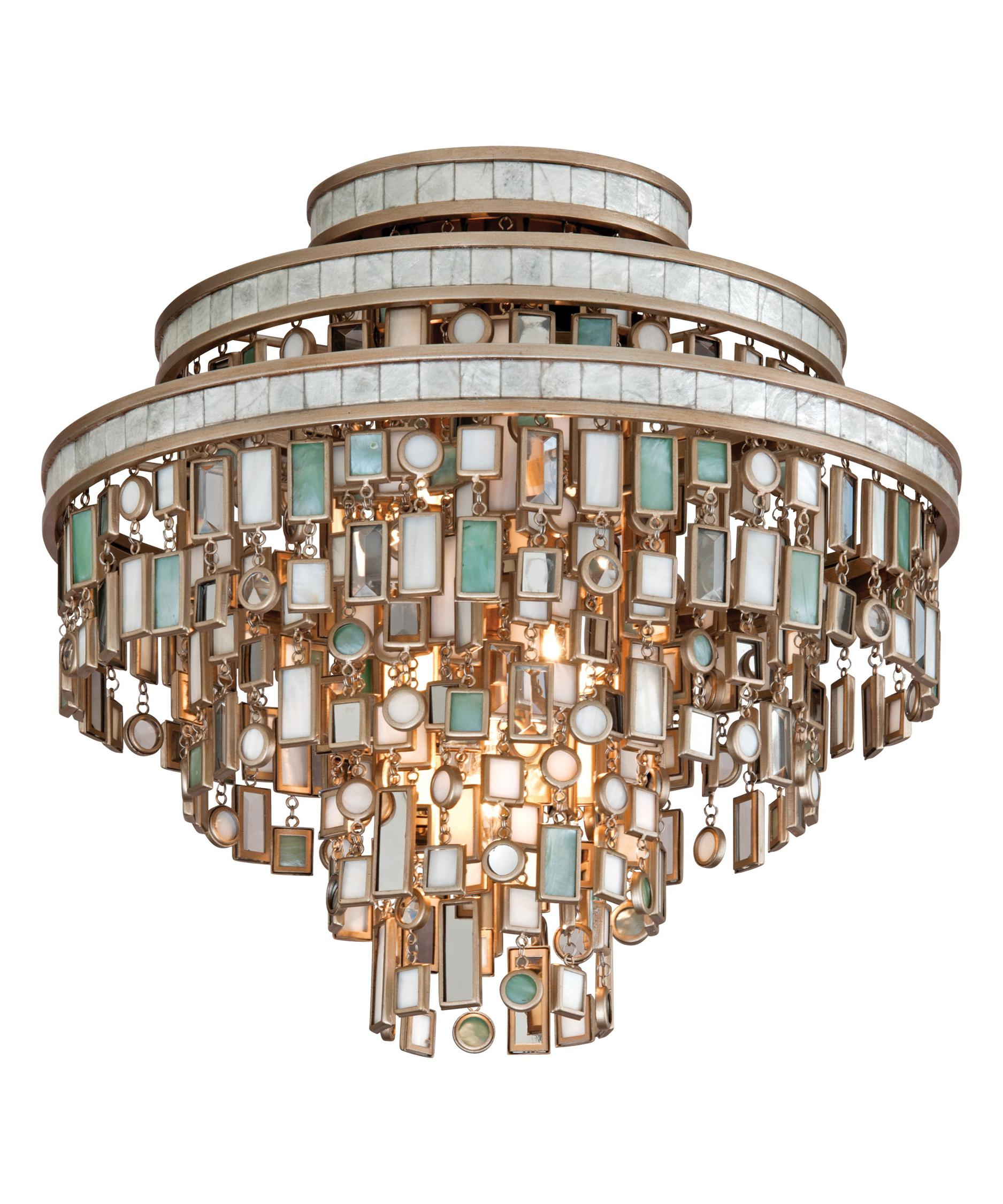 shown in dolcetti silver finish and mixed shells with crystal and stainless accents accent - Corbett Lighting