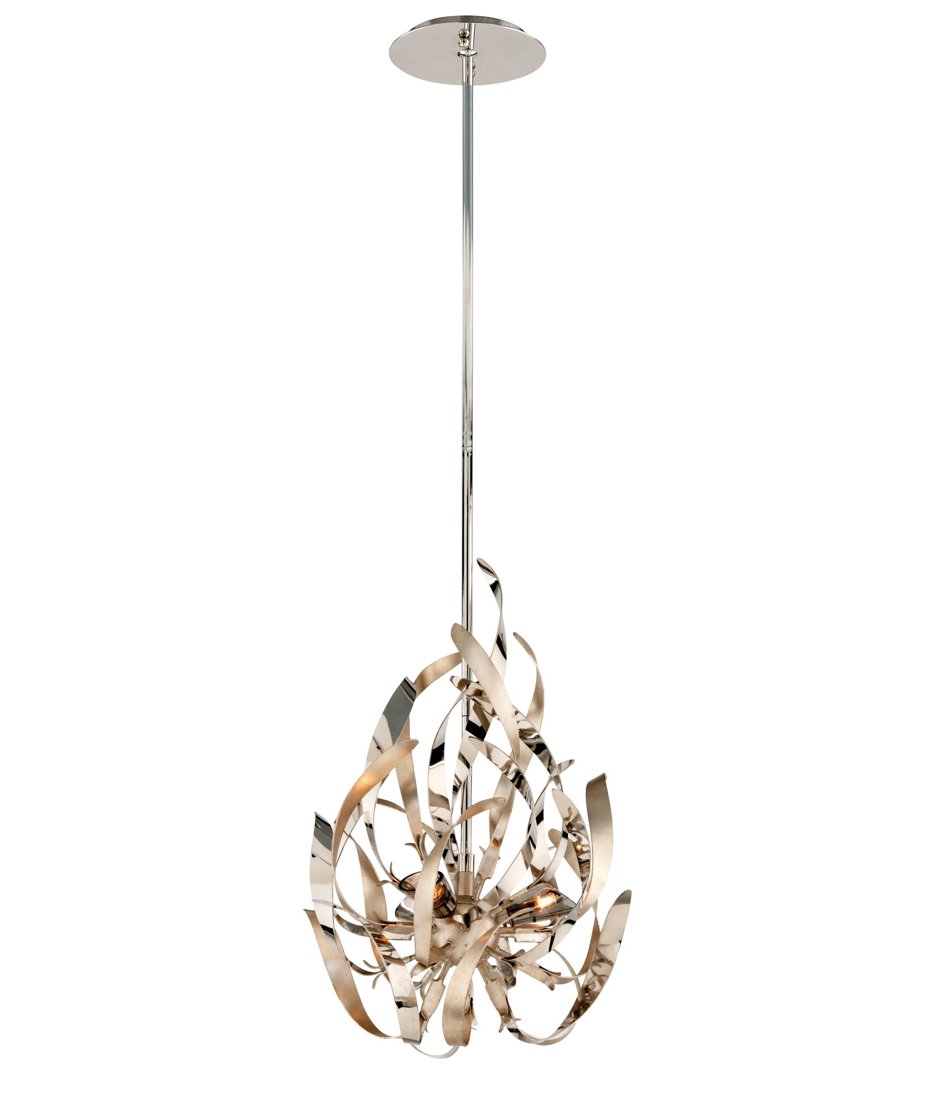 shown in silver leaf and polished stainless finish - Corbett Lighting