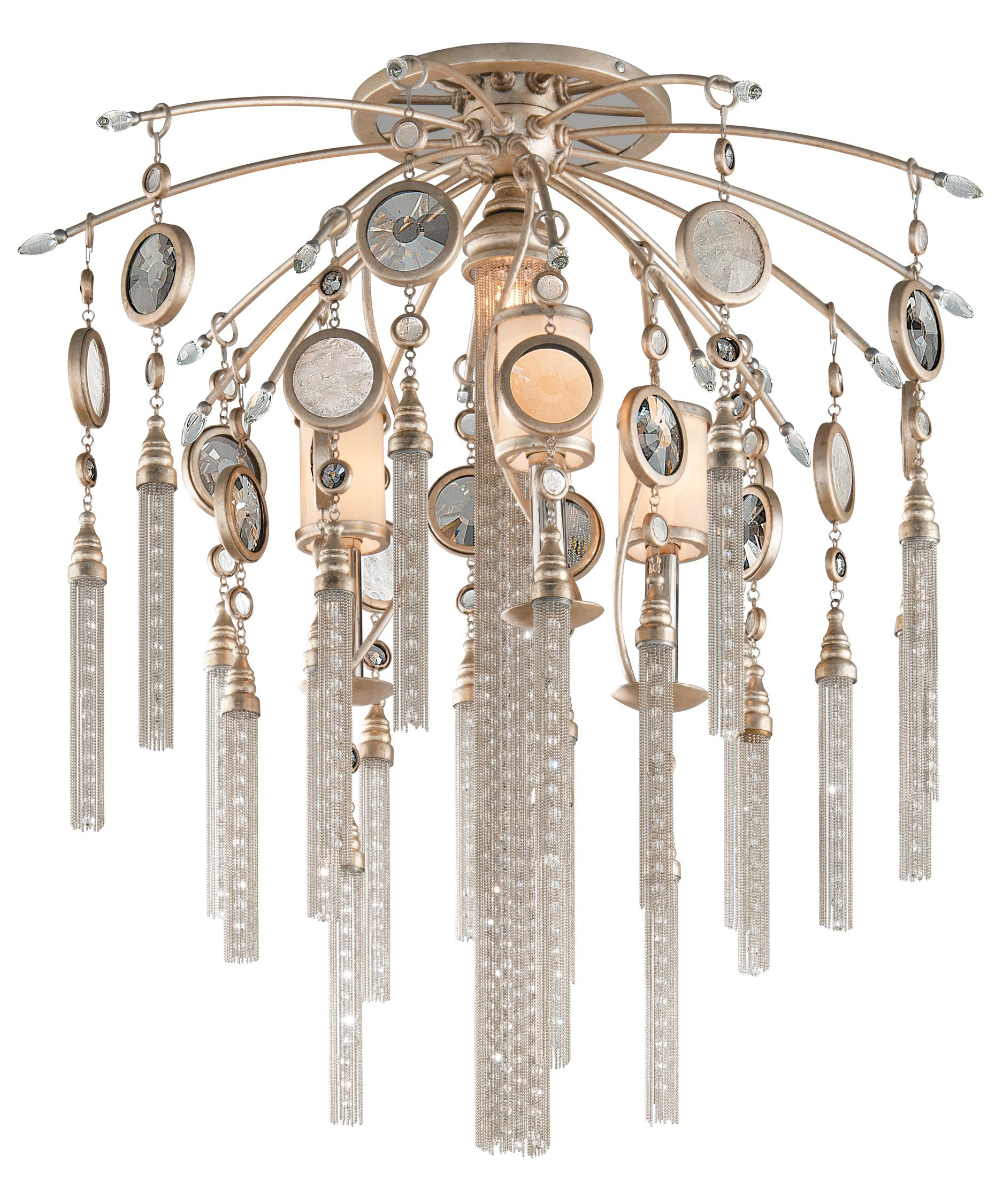 shown in topaz leaf finish brazilian rock crystals crystal smoked crystal medallions glass - Corbett Lighting
