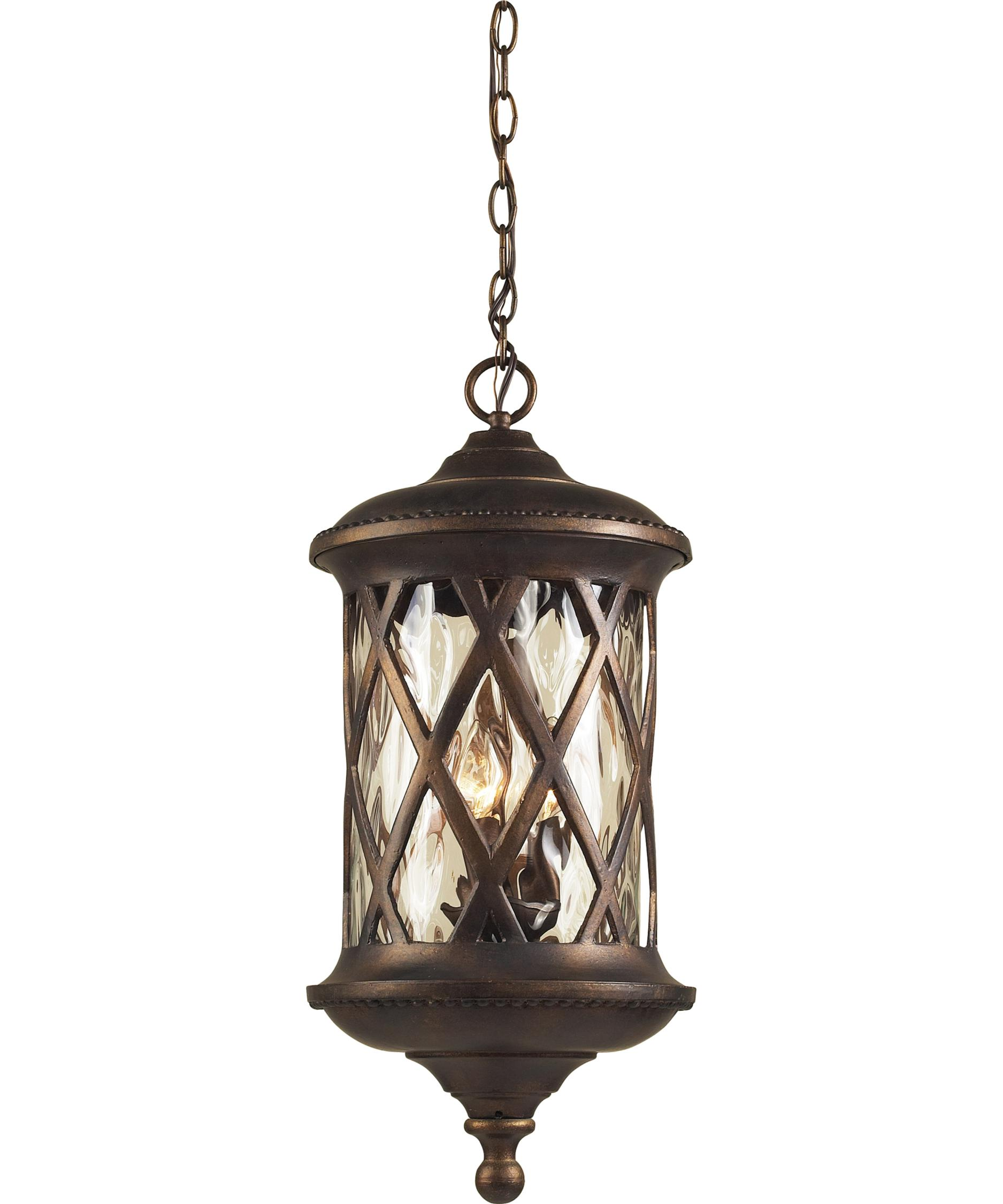 Outdoor hanging lamp - Shown In Hazelnut Bronze Finish And Water Glass