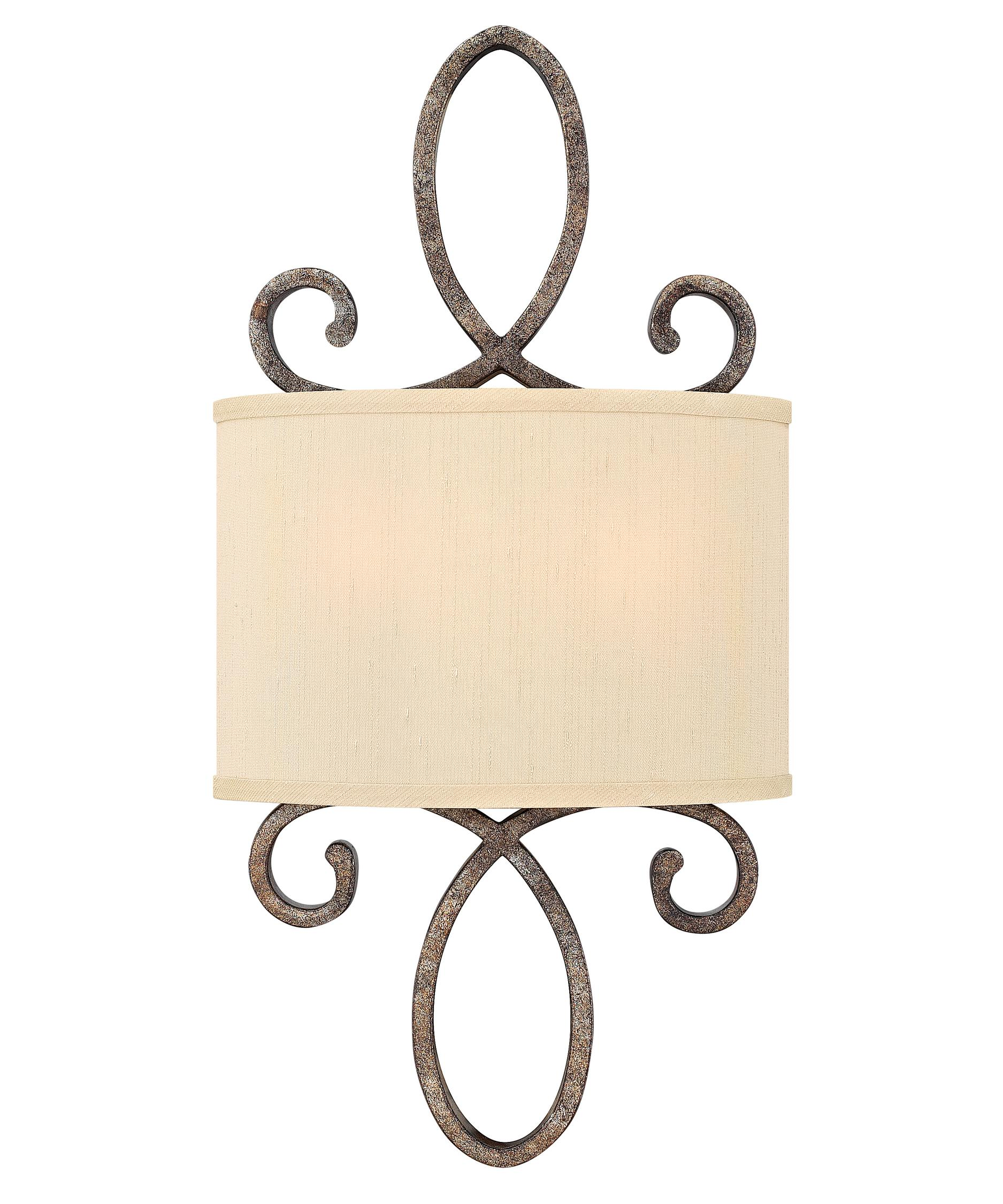 fredrick ramond fr42500 monterey 10 inch wide wall sconce shown in brushed merlot finish and golden siulk fabric shade