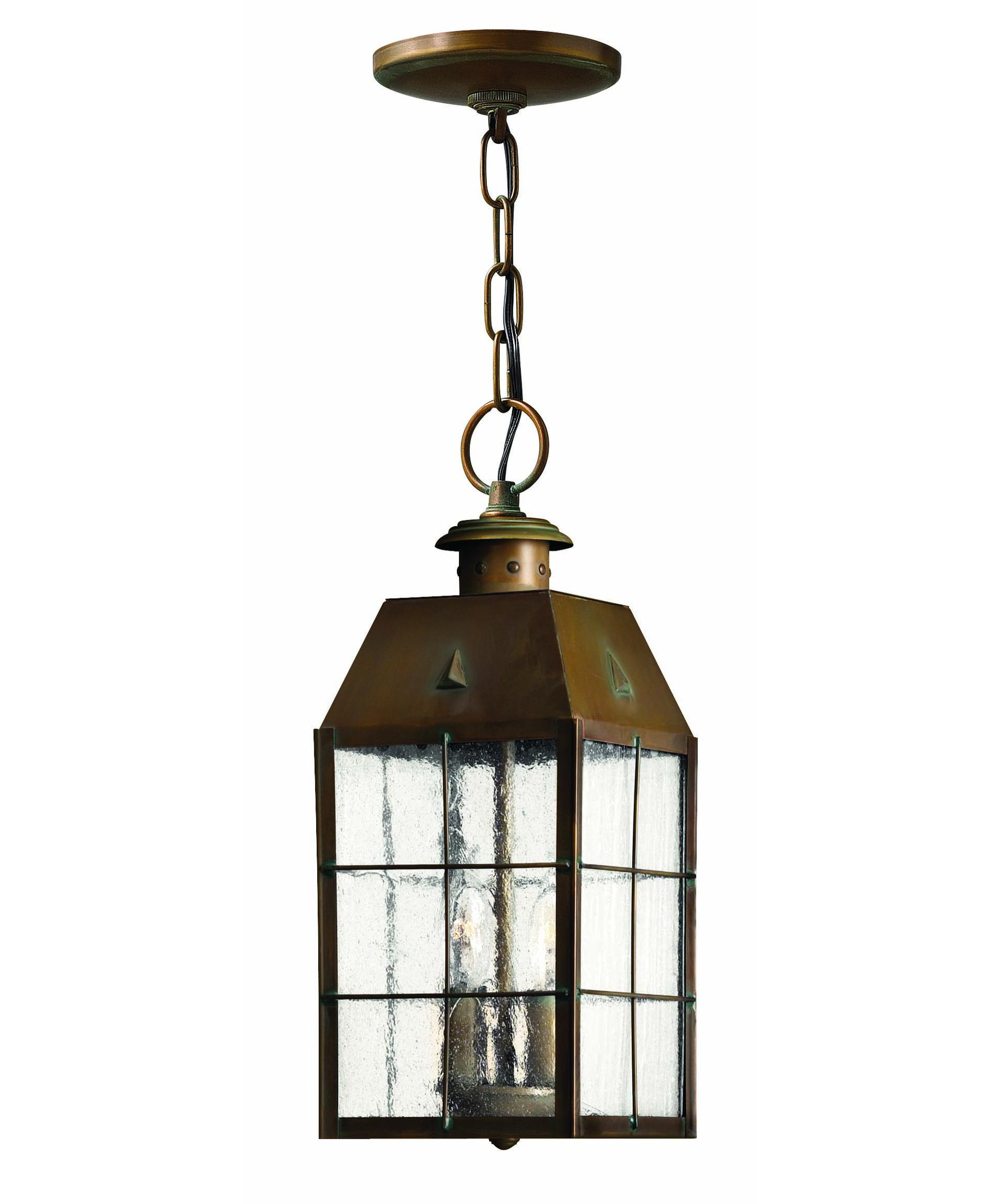 Outdoor porch lamp - Shown In Aged Brass Finish And Clear Seedy Glass