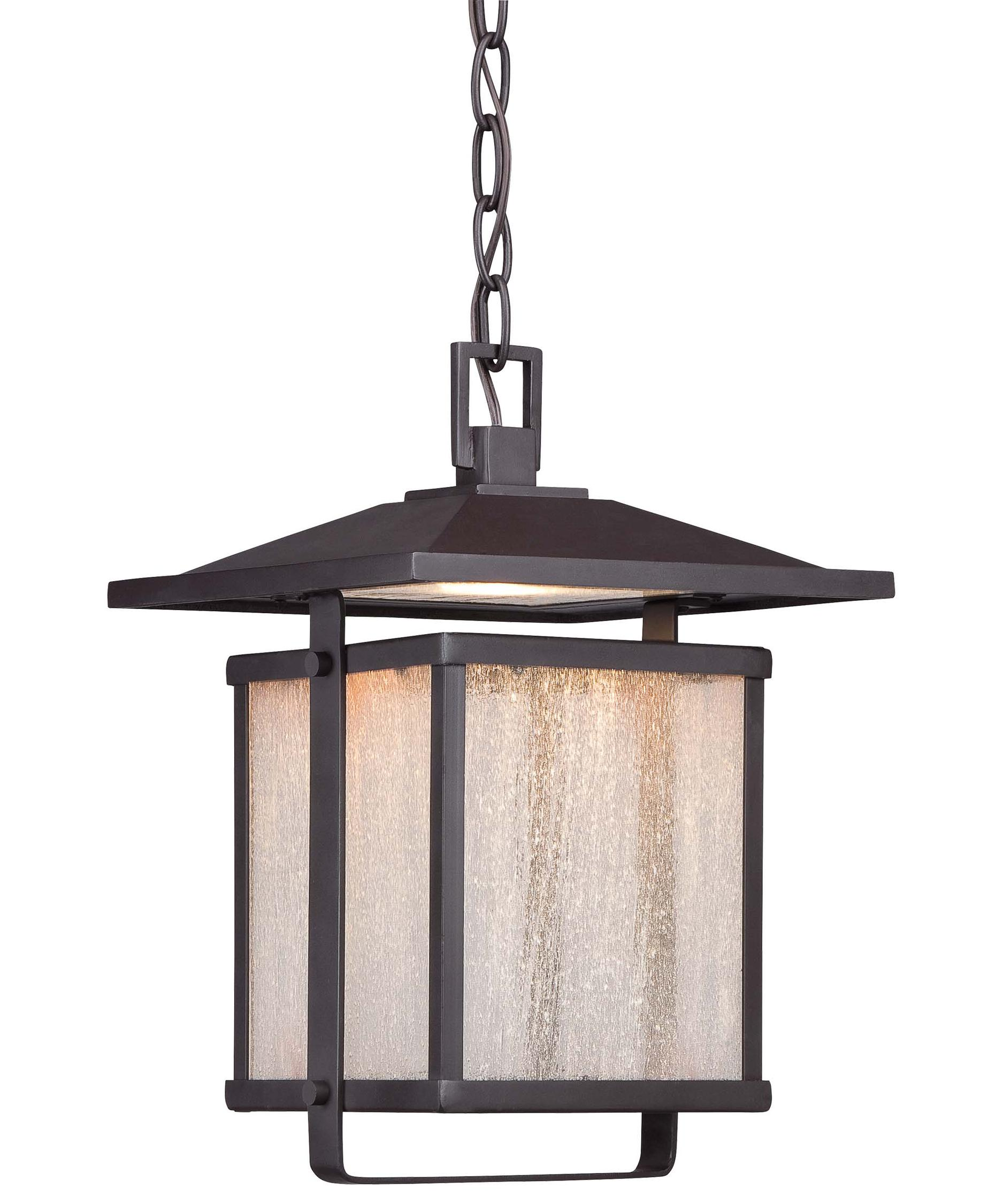 Outdoor hanging lighting - Shown In Dorian Bronze Finish And Clear Seeded Glass