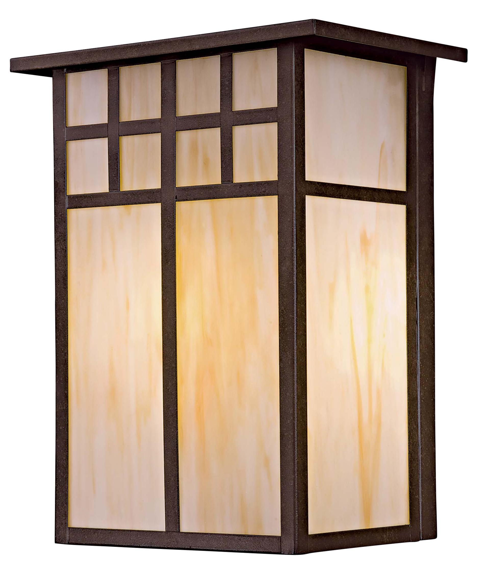 shown in textured french bronze finish and honey opal art glass - Minka Lighting