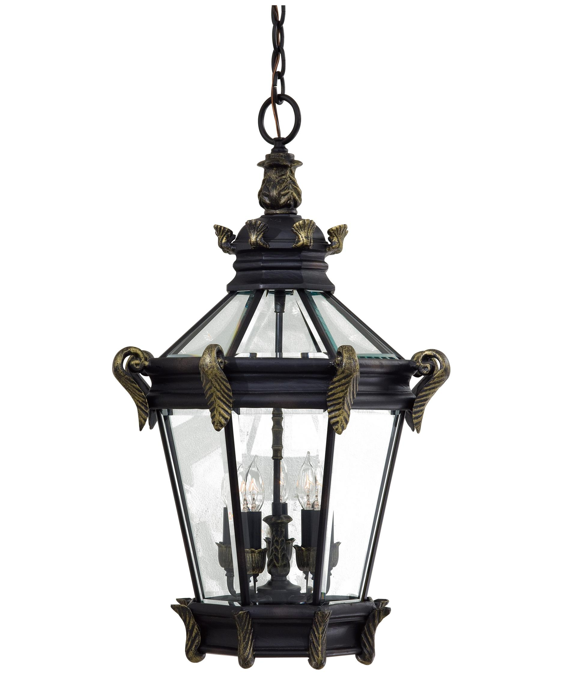 Outdoor hanging lighting - Shown In Heritage With Gold Finish And Clear Beveled Glass