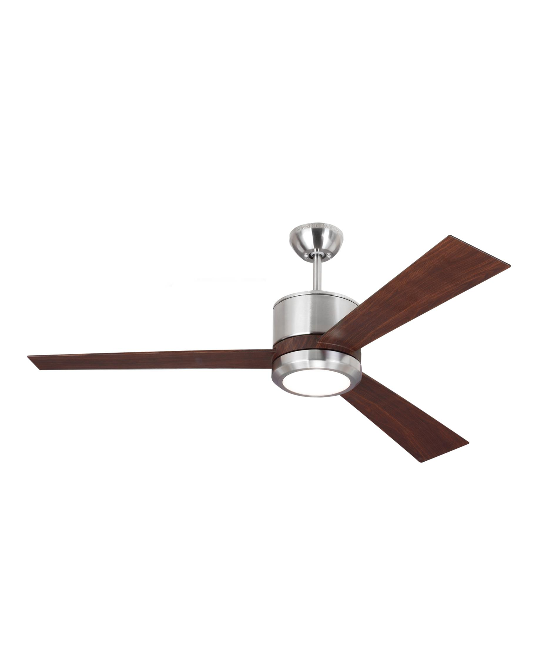 monte carlo vnr vision  inch  blade ceiling fan  capitol  - shown in brushed steel finish and frosted acrylic glass