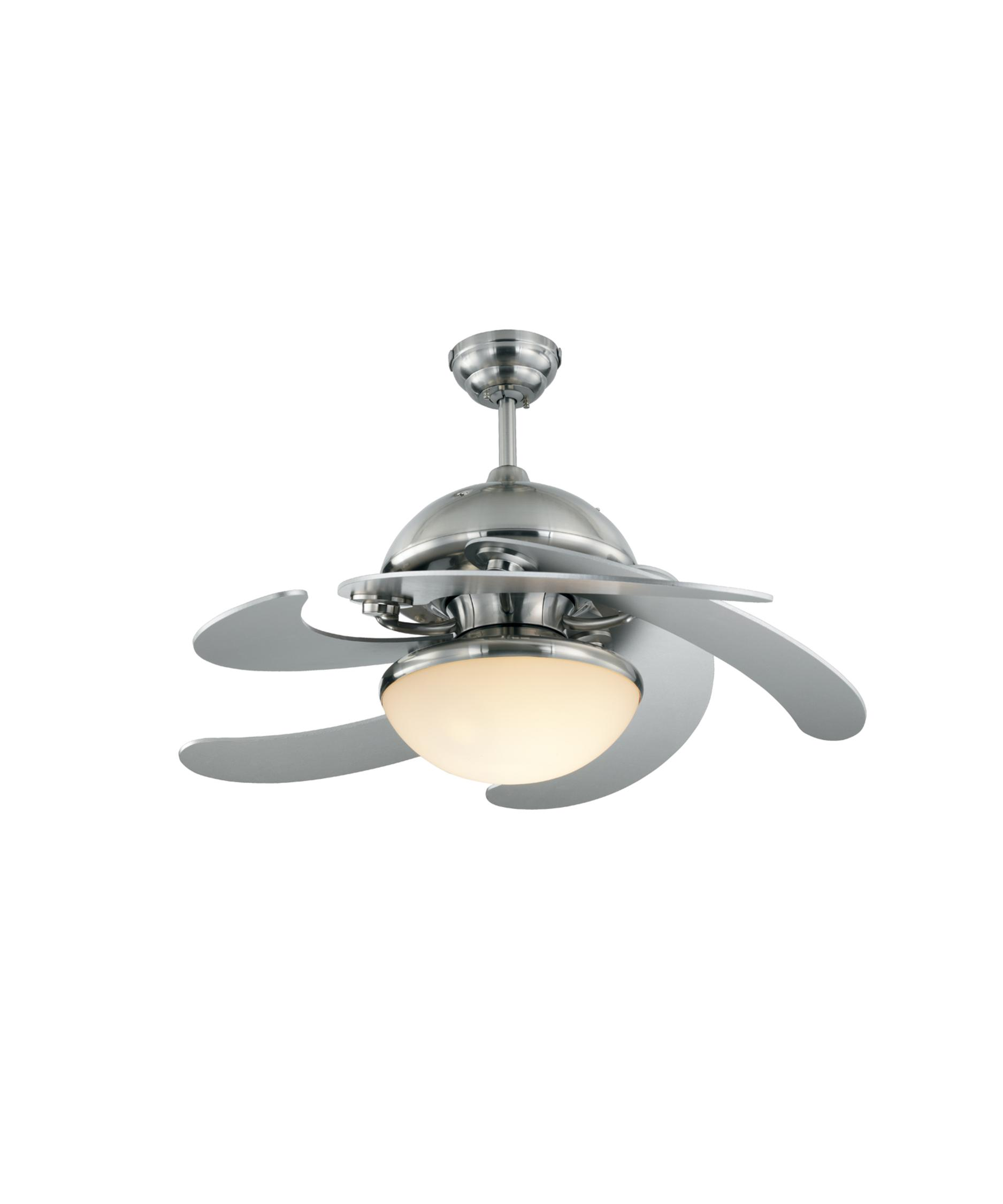 Monte Carlo Ceiling Fan Light Kit: Shown in Brushed Steel finish and Matte Opal glass,Lighting