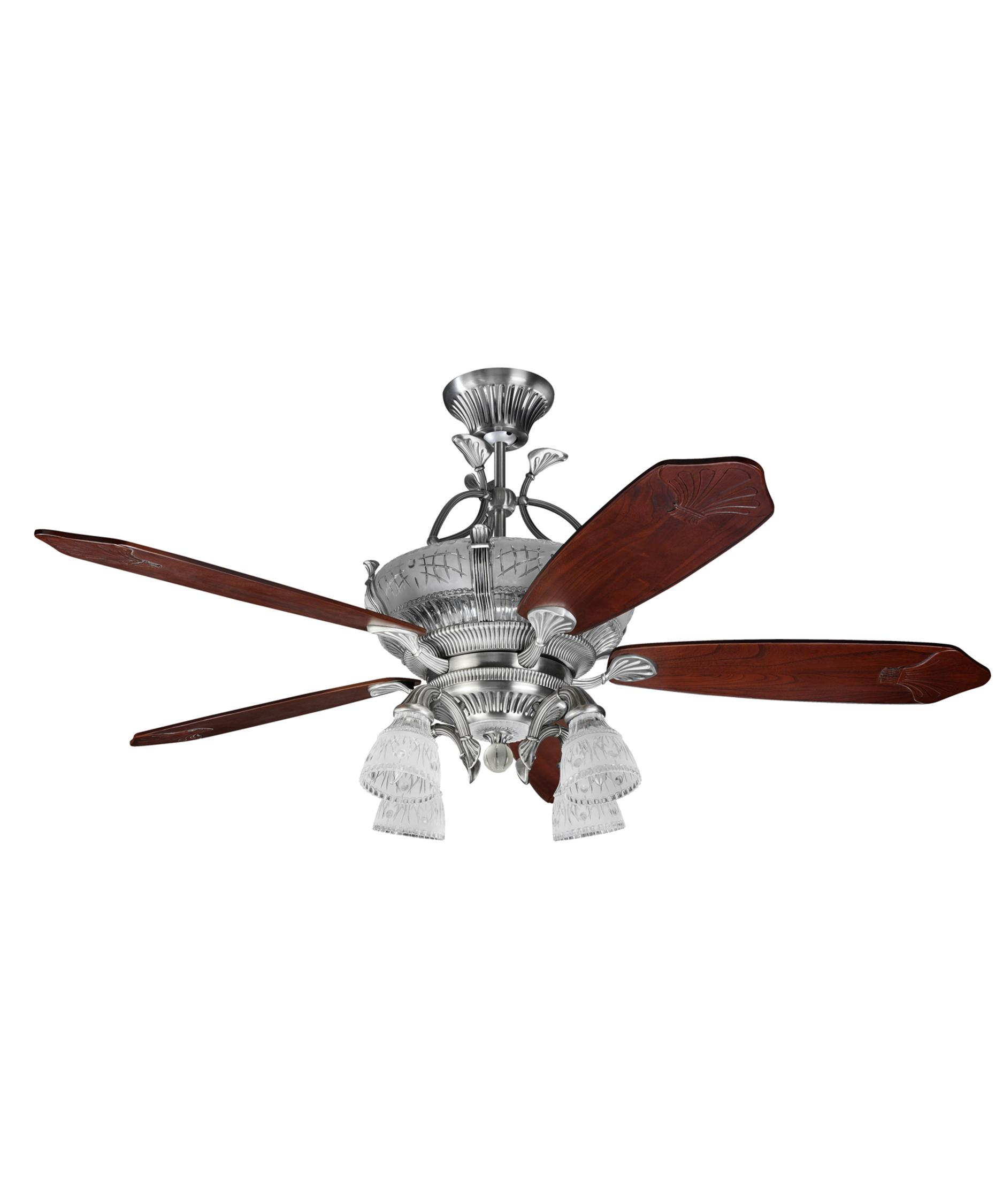 Murray Feiss Ceiling Fan Light Kit: Monte Carlo 5CRR66EP4 Crystoria 66 Inch Ceiling Fan With