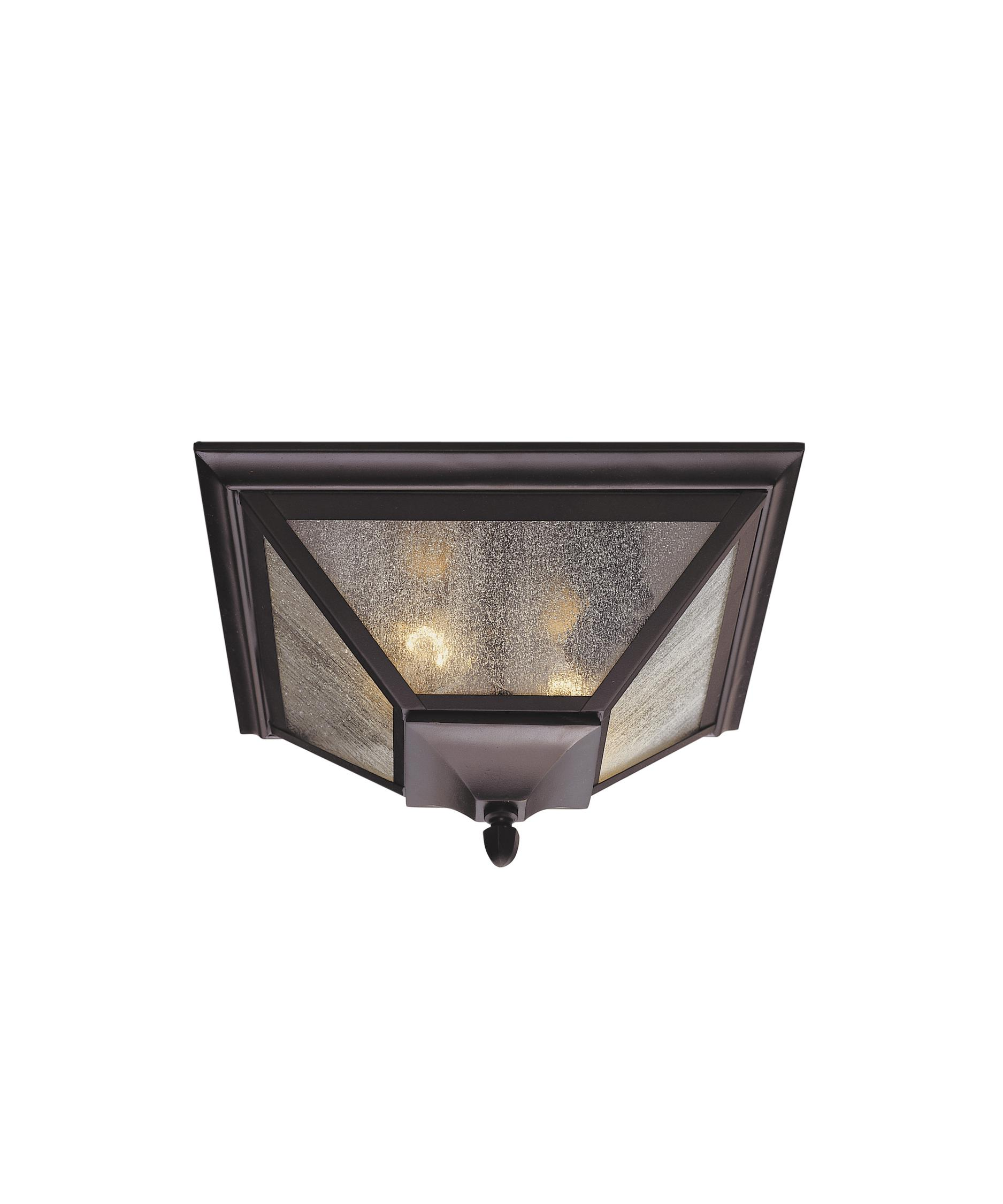 Flush mount outdoor lighting - Shown In Oil Rubbed Bronze Finish And Seeded Glass