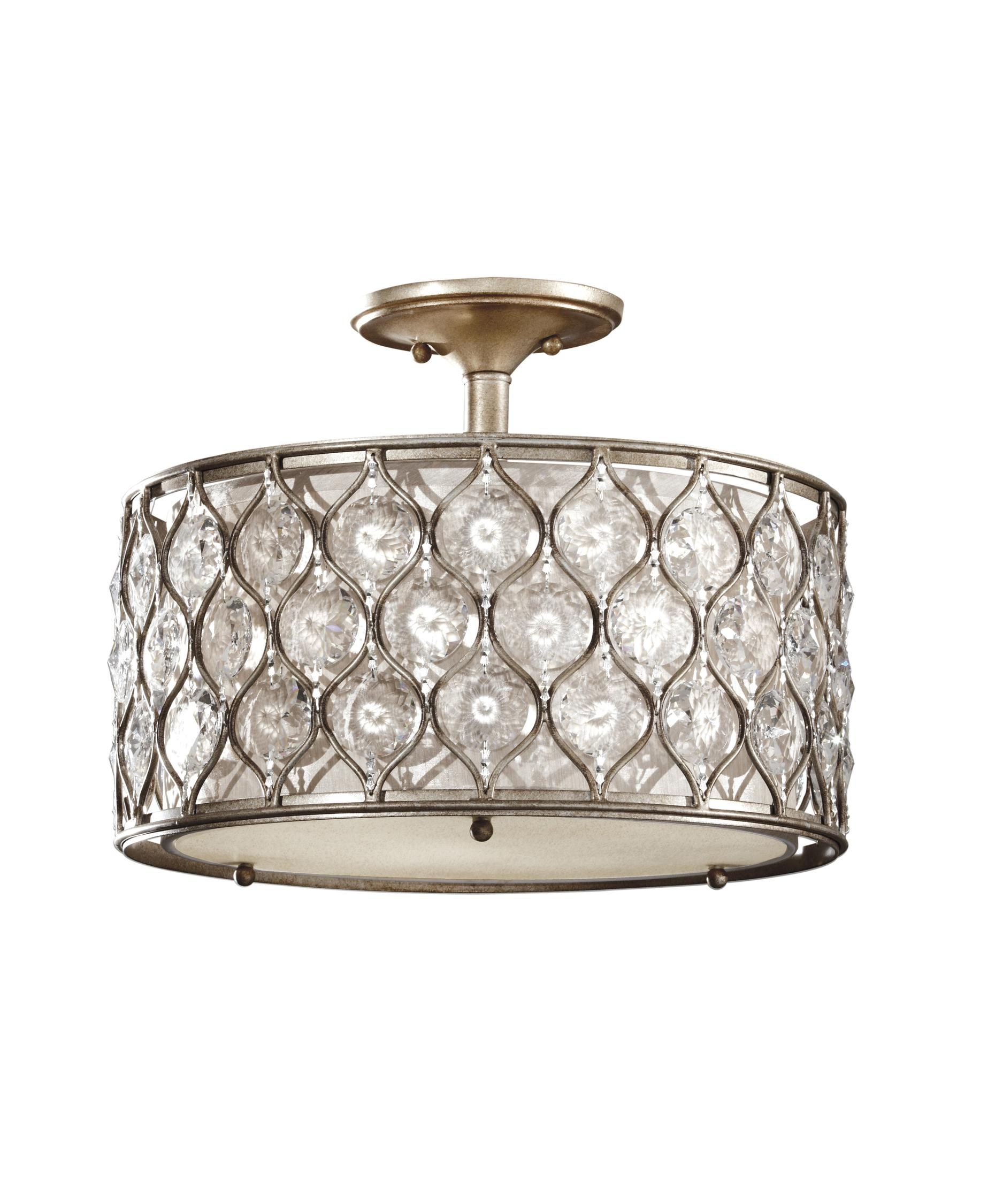 shown in burnished silver finish and beige fabric shade - Feiss Lighting
