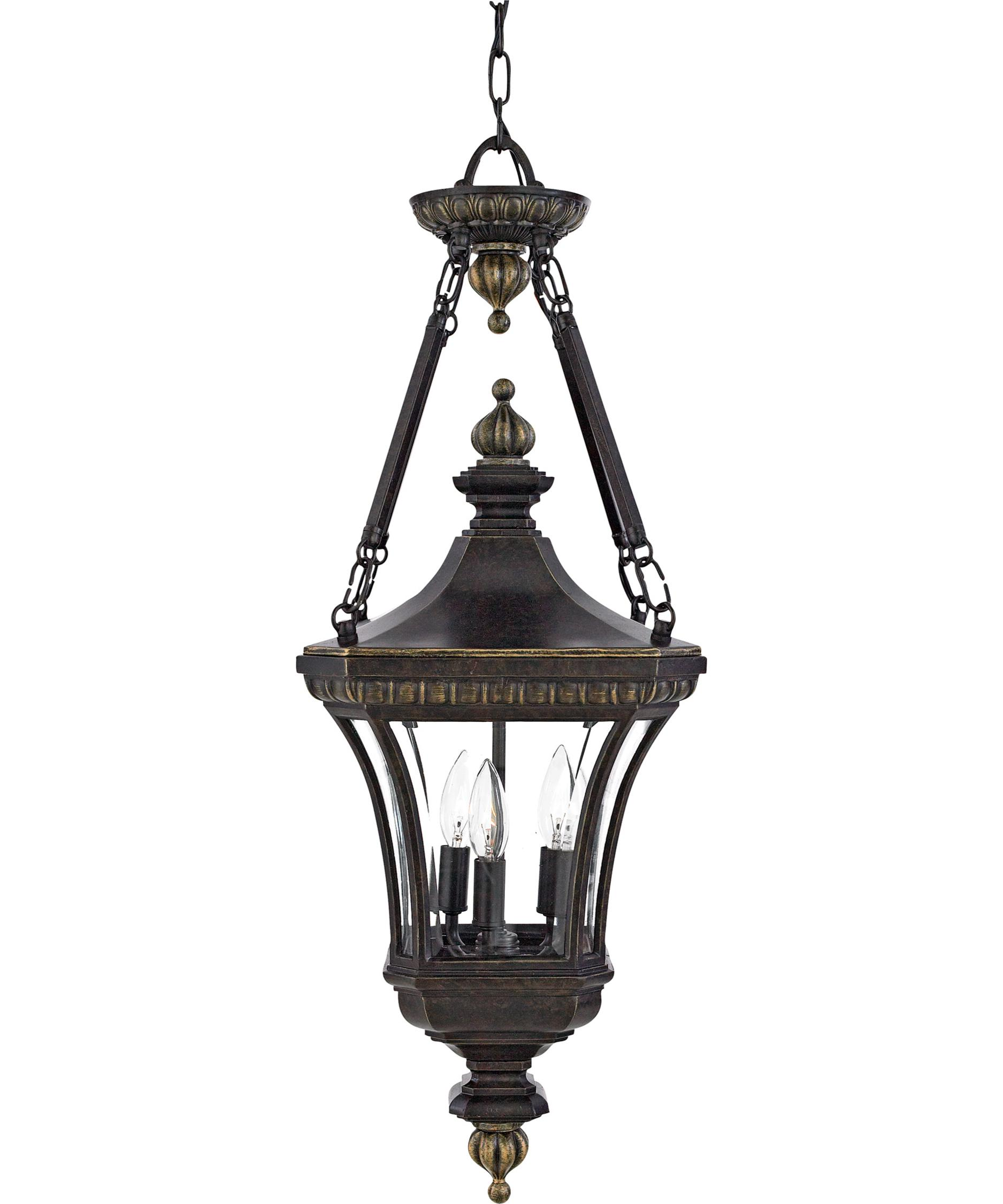 Outdoor hanging lamp - Shown In Imperial Bronze Finish And Clear Beveled Glass