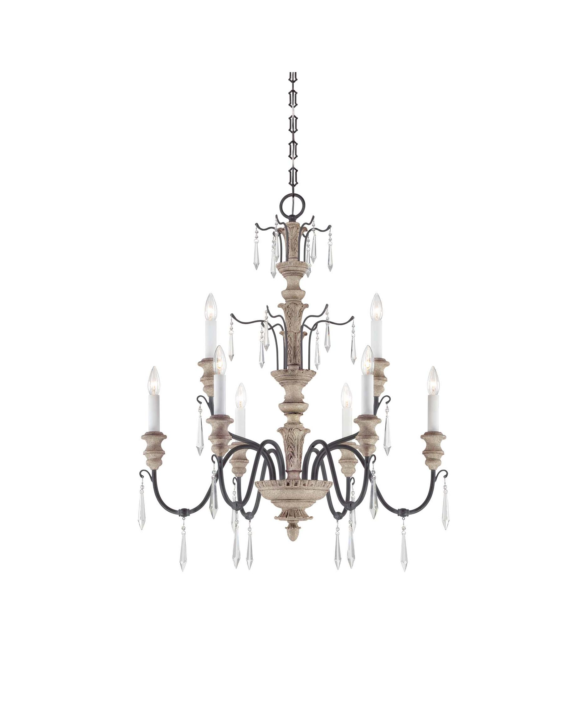 shown in distressed white wood and iron finish - Savoy Lighting