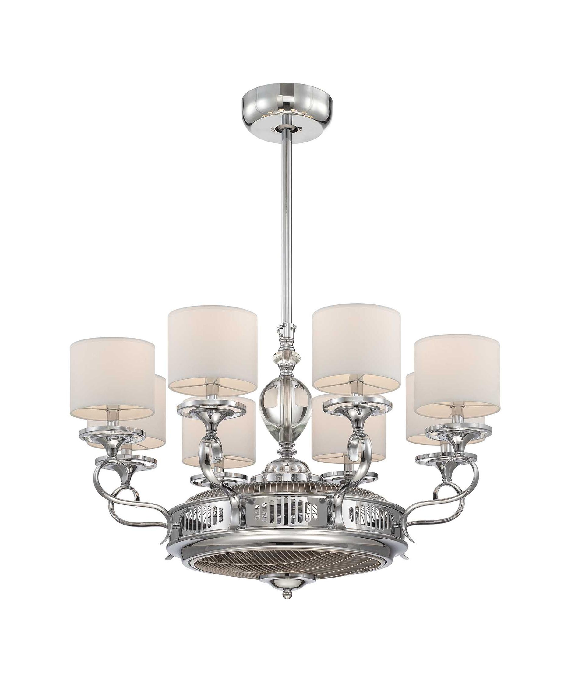 Savoy House Levantara 34 Inch Chandelier Ceiling Fan | Capitol ...:Shown in Chrome finish and White shade,Lighting