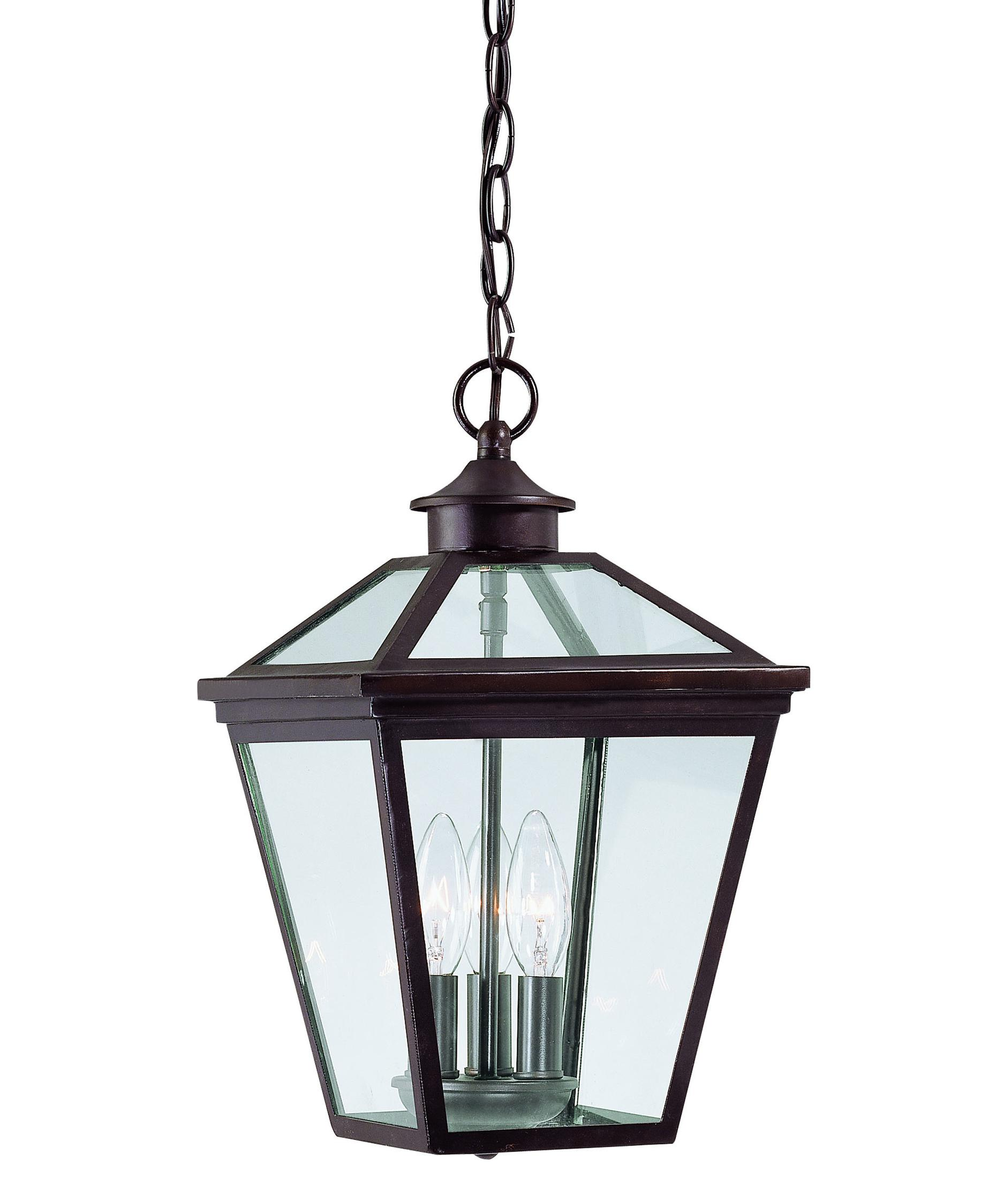 Outdoor hanging lighting - Shown In English Bronze Finish And Clear Glass