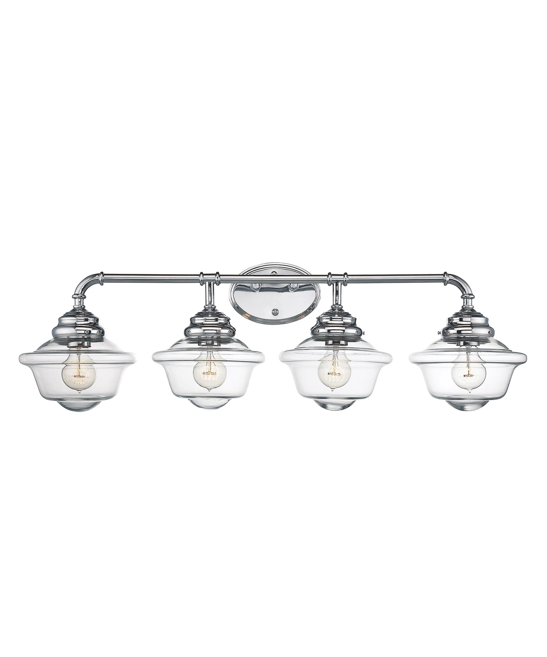 shown in chrome finish and clear glass bathroom vanity lighting 1
