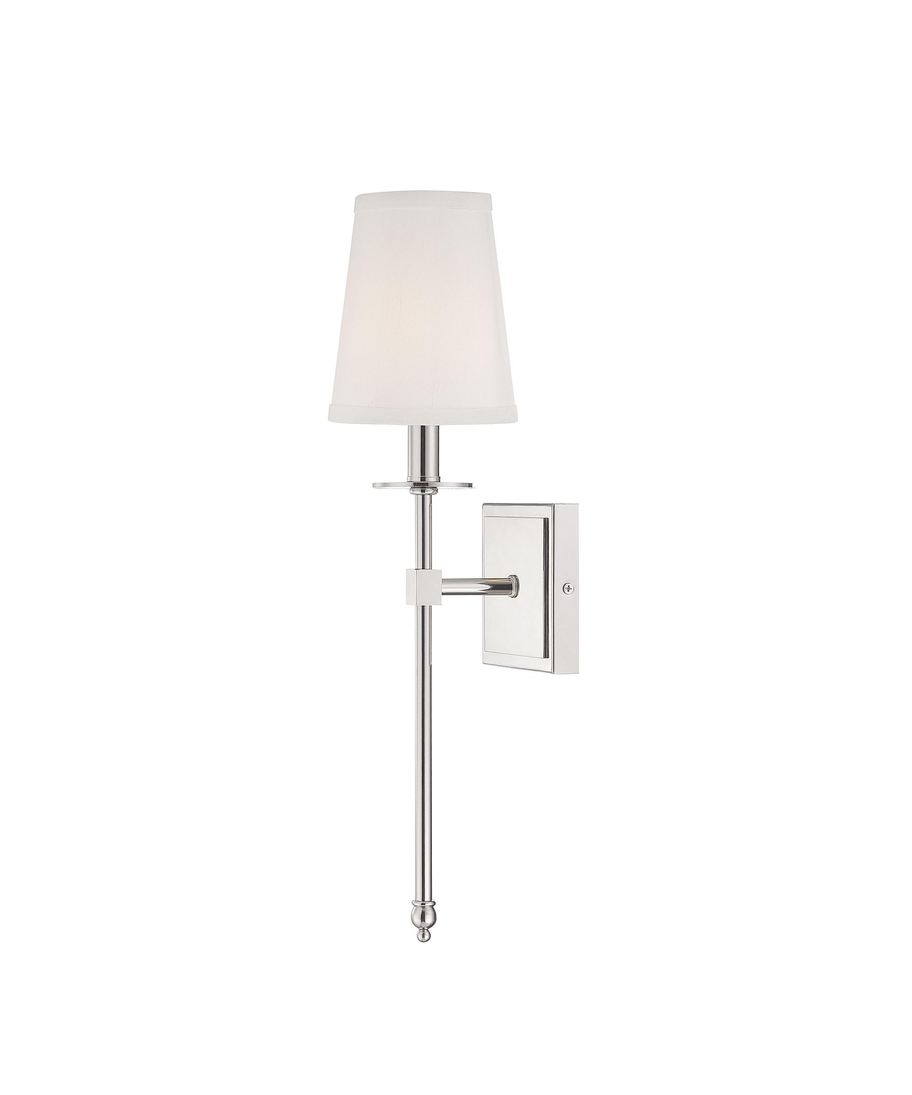 Shown In Polished Nickel Finish And Soft White Fabric Shade