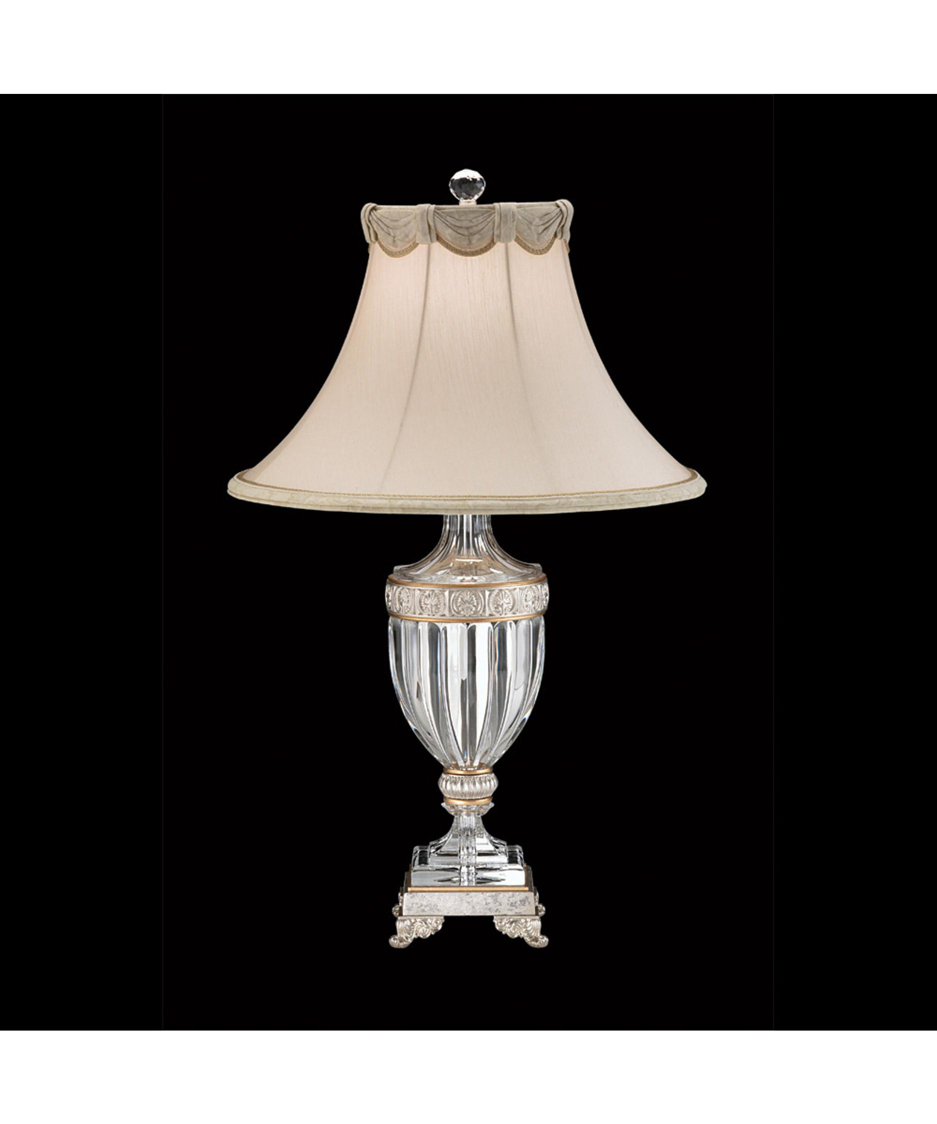 shown in antique silver finish and bell shade scalloped shade - Schonbek Lighting