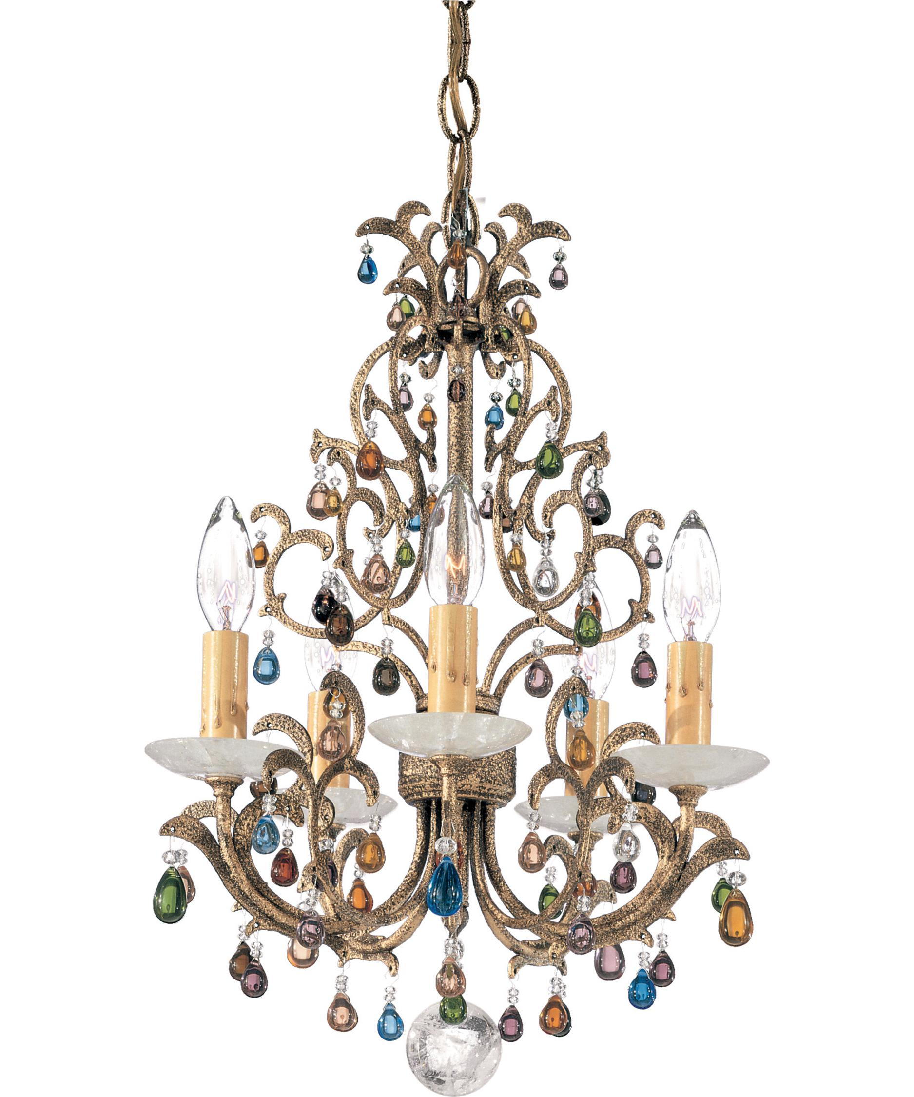 shown in bronze gold finish and jewel tones and rock crystal - Schonbek Lighting
