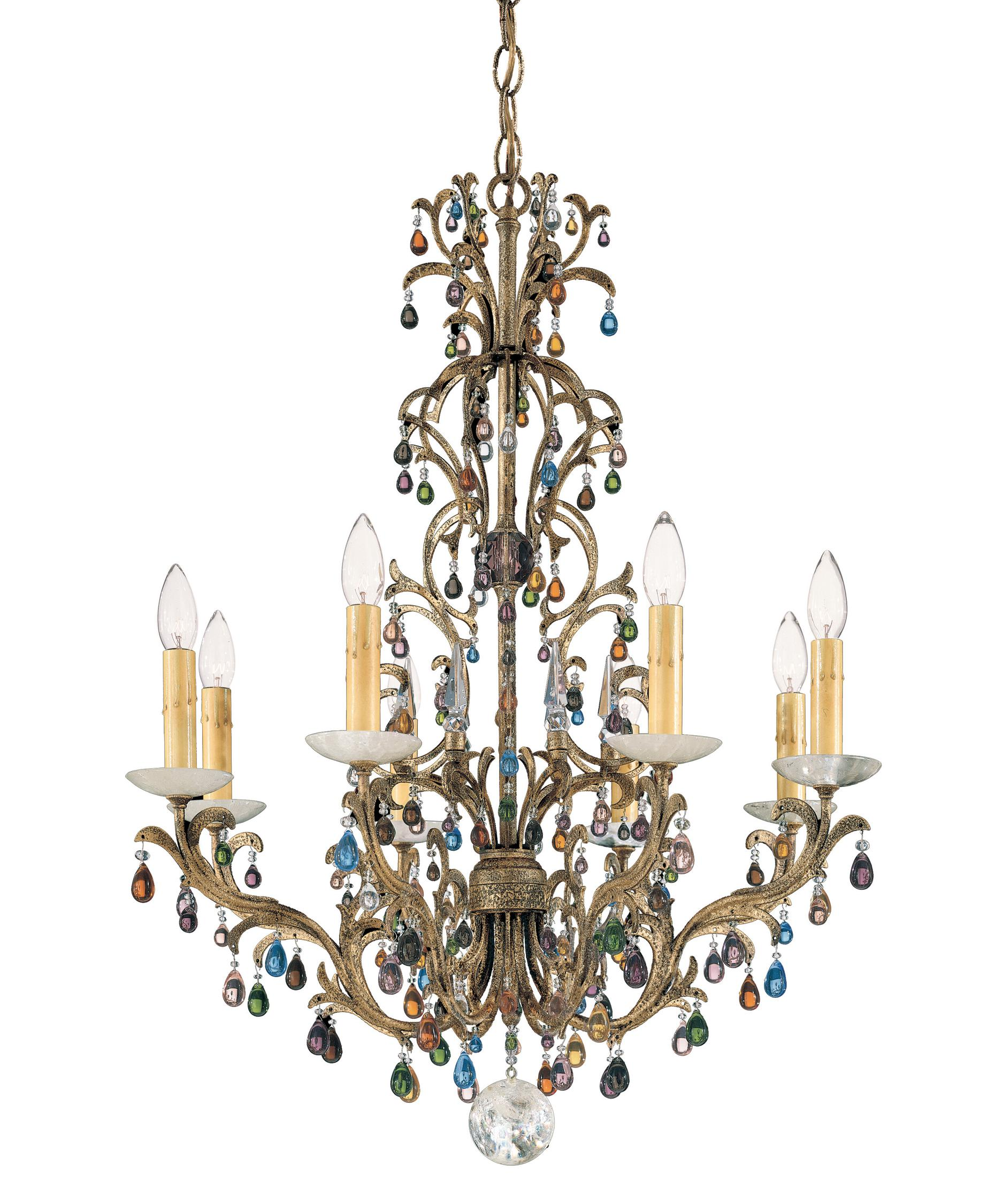 shown in bronze gold finish and jewel tones and rock crystal - Schonbek Chandelier