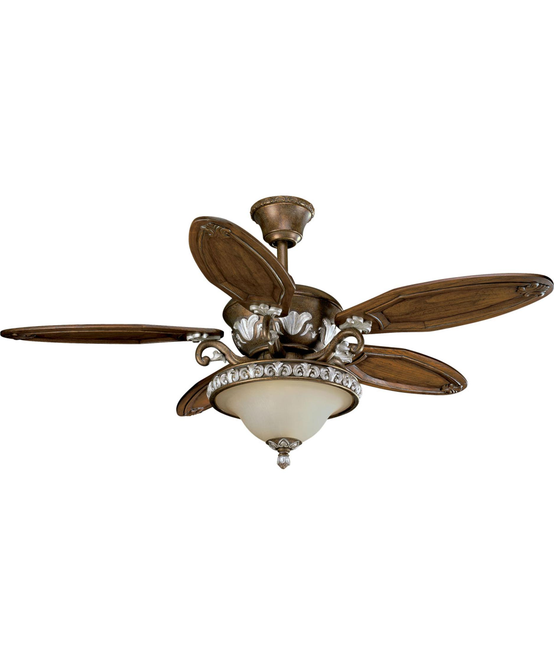 shown in tuscany crackle finish and etched antique seeded glass - Outdoor Ceiling Fans With Lights