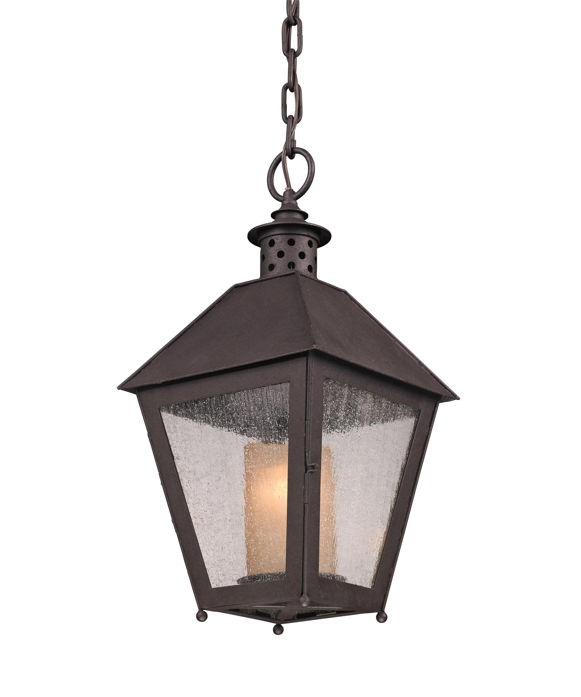 Outdoor hanging lamp - Shown In Cenntinial Rust Finish And Clear Seeded With Amber Cylinder Glass