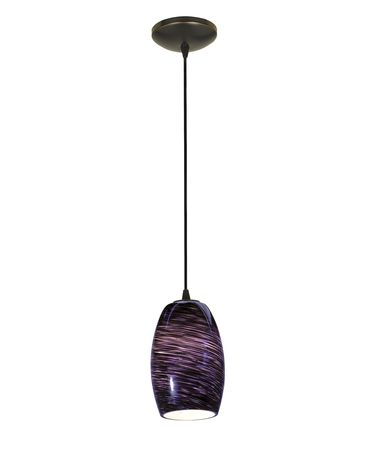 Shown in Oil Rubbed Bronze finish and Plum Swirl glass