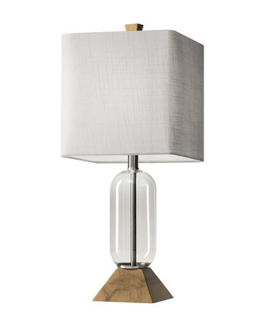 Shown in Clear-Natural Birch Wood finish and Textured White Fabric shade