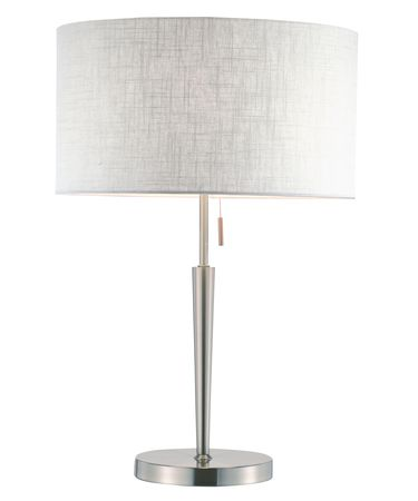 Shown in Brushed Steel finish and White Textured shade