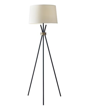 Shown in Black With Antique Bronze finish and Off-White Linen shade
