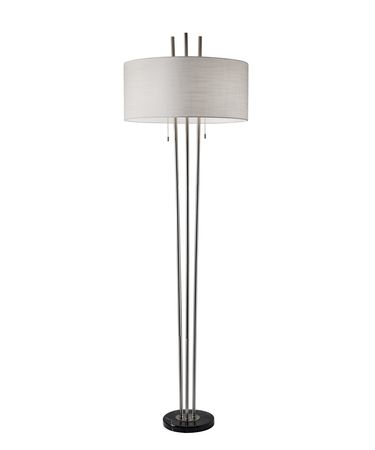 Shown in Brushed Steel finish and Textured White Linen shade