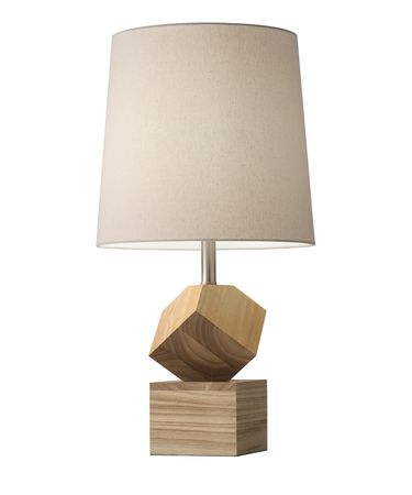 Shown in Natural Rubberwood finish and Beige Linen shade