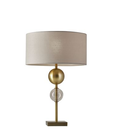 Shown in Antique Brass finish and Off-White Textured Fabric shade