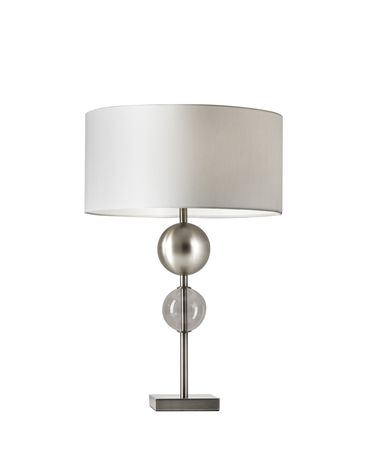 Shown in Brushed Steel finish and Smooth White Fabric shade