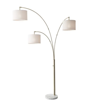 Shown in Antique Brass finish and Off-White Textured Linen shade