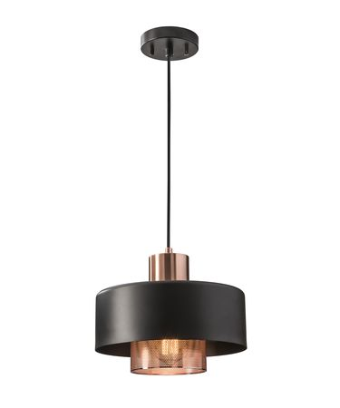 Shown in Black-Brushed Copper finish and Black-Perforated Brushed Copper Inner shade