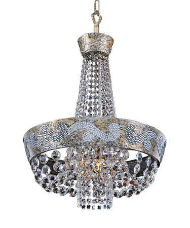 Shown in Antique Silver Leaf finish and Firenze Clear crystal