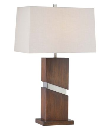 Shown in Walnut-Brushed Nickel finish and Tan Linen shade