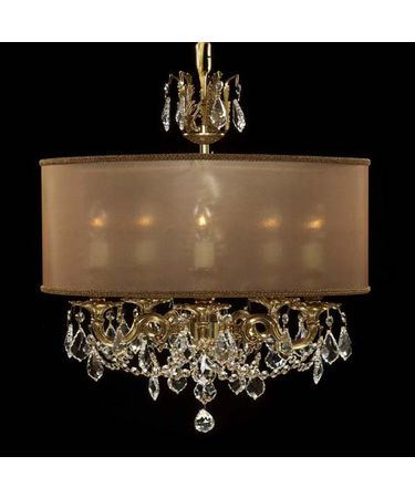 Shown in Polished Brass with Black Inlay finish with Clear Precision Pendalogue crystal and Dark Copper shade