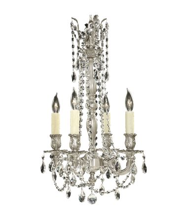 Shown in Satin Nickel finish, Clear Precision Teardrop crystal and Pale Ivory Wax Candle Cover accent