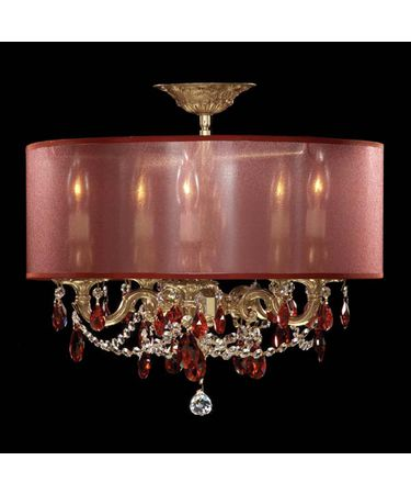 Shown in Polished Brass with Umber Inlay finish with Bordeaux Strass Teardrop crystal and Aubergine shade