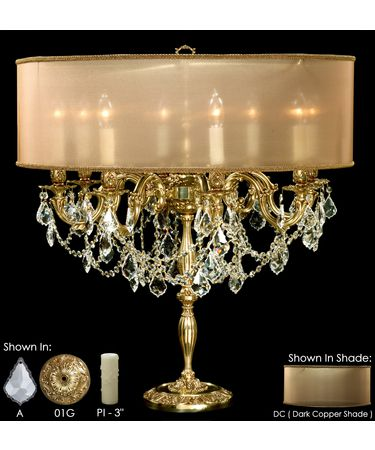 Shown in Polished Brass with Umber Inlay finish with Clear Precision Pendalogue crystal, Dark Copper shade and Pale Ivory Wax Candle Cover