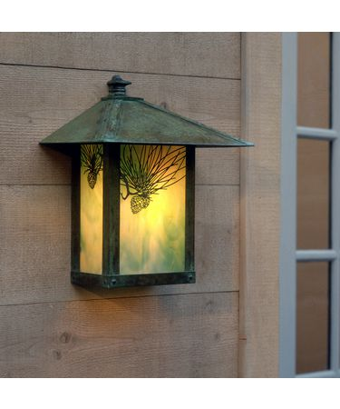 Shown in Verdigris Patina finish, Gold White Iridescent glass and Pine Needle accent