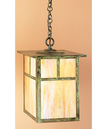Shown in Verdigris Patina finish, Gold White Iridescent glass and T-Bar Overlay accent