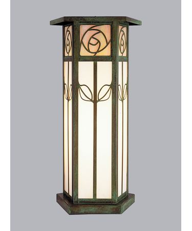 Shown in Verdigris Patina finish and Gold White Iridescent-White Opalescent Combination glass