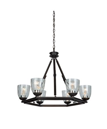 Shown in Oil Rubbed Bronze finish and Clear Hammered glass